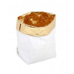Dekoracyjna torba papierowa biało-złota Essential