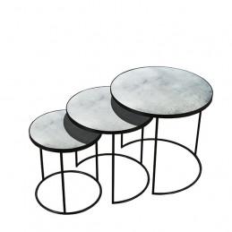 Zestaw trzech stolików kawowych Clear Nesting Notre Monde