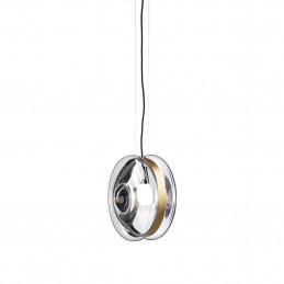 Wykonana z ręcznie dmuchanego szkła lampa wisząca Orbital Patina Bomma