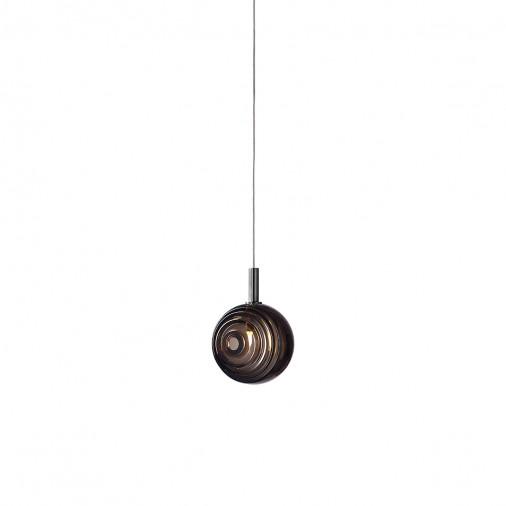 Wykonana z ręcznie dmuchanego szkła lampa wisząca Dark & Bright Anthracite S Bomma