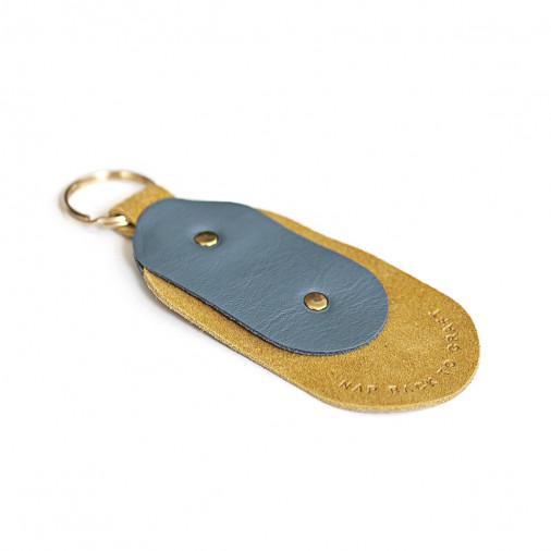 Brelok skórzany podłużny niebiesko-żółto re: NAP