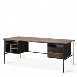Drewniane biurko Oscar Teak dwie szuflady Ethnicraft