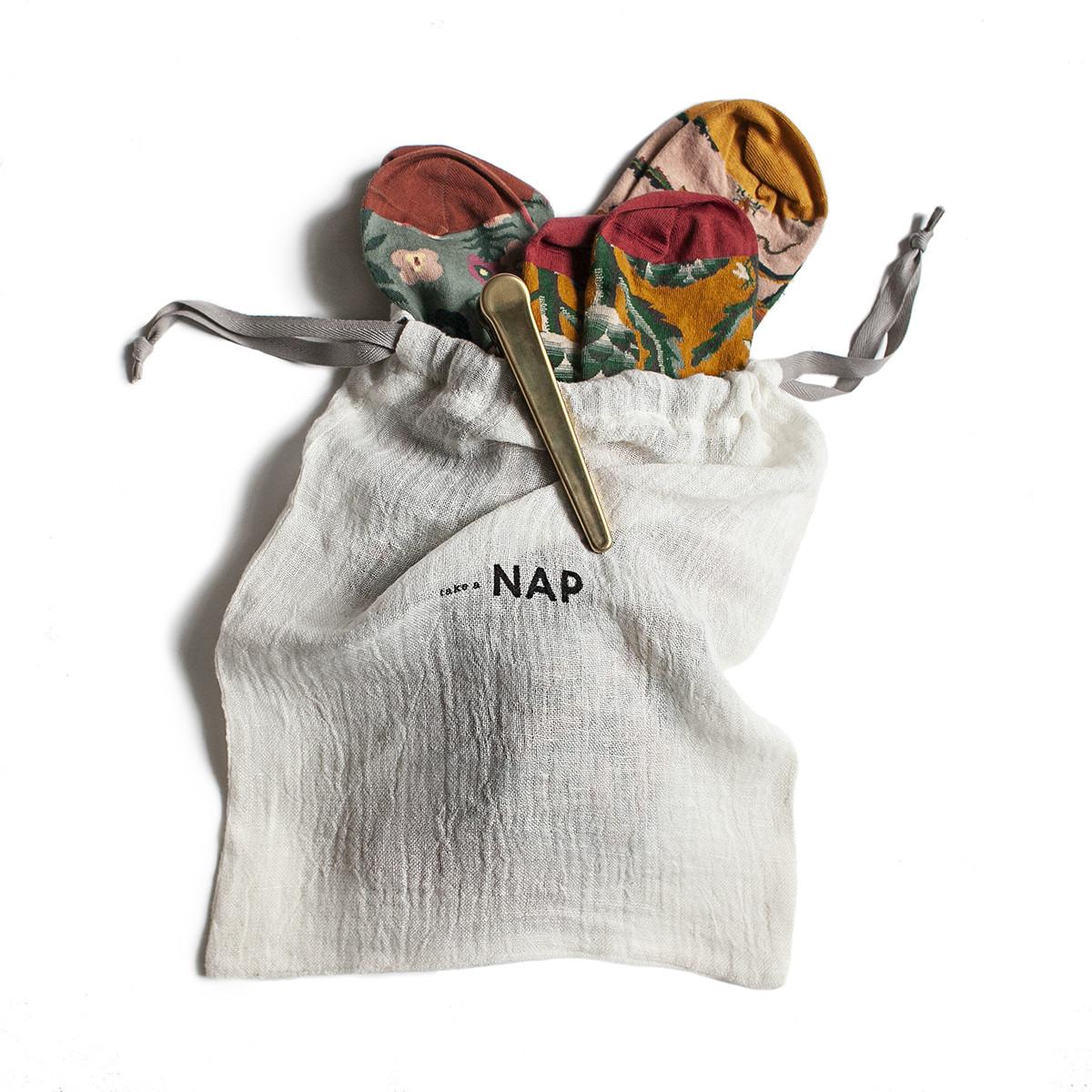 Wielorazowy lniany woreczek take a NAP 100% lnu przyjazny środowisku