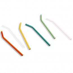 Kolorowy zestaw 6 szklanych słomek SIP Dots HAY