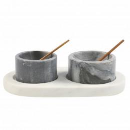 Marmurowe pojemniki z podstawką i łyżeczkami White & Gray Marble Be Home