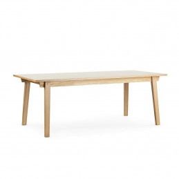 Minimalistyczny stół Slice Linoleum Mushroom 90x200 Normann Copenhagen