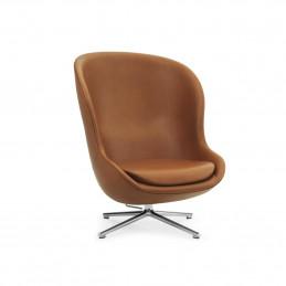 Nowoczesny fotel Hyg High Swivel Alu Ultra Leather Normann Copenhagen