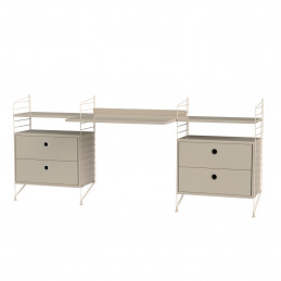 Beżowe biurko z dwoma komodami String