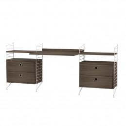 Nowoczesne biurko z dwoma komodami Walnut String