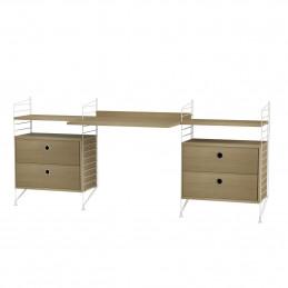 Białe biurko z dwoma komodami Oak String