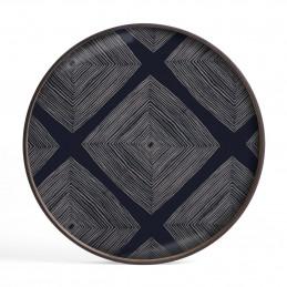 Abstrakcyjna szklana taca Ink Linear Squares S Ethnicraft