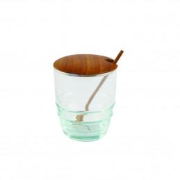 Recycled Glass & Teak Jar Set Spoon Be Home