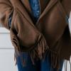 Ciepłe z kieszeniami i frędzlami - ponczo Uni 60x170cm mocca Lapuan Kankurit