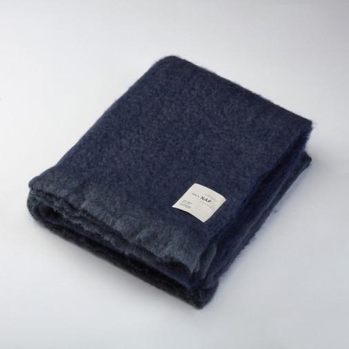 Miękki pled wełniany grey/blue 140x170 take a NAP