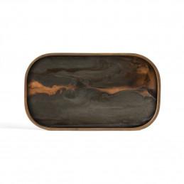 Ręcznie malowana taca Bronze Organic glass valet tray rectangular M Ethnicraft