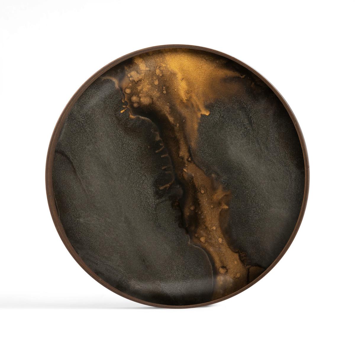 Ręcznie malowana taca Bronze Organic glass valet tray round L Ethnicraft
