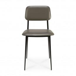 Ognioodporne krzesło tapicerowane skórą DC olive green Ethnicraft