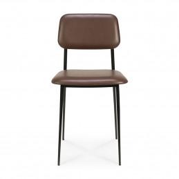Ognioodporne krzesło tapicerowane skórą DC chocolate Ethnicraft