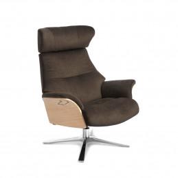 Tapicerowany tkaniną w kawowym kolorze fotel Air Quattro obrotowy z pamięcią Conform