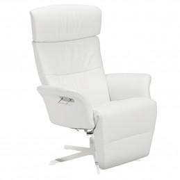 Biały fotel Master z podnóżkiem obrotowy z pamięcią Conform
