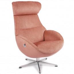 Fotel Globe obrotowy z pamięcią tapicerowany tkaniną w kolorze brzoskwiniowym - Conform
