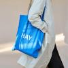 Bawełniana Torba Niebieska na zakupy Tote Bag L białe logo HAY