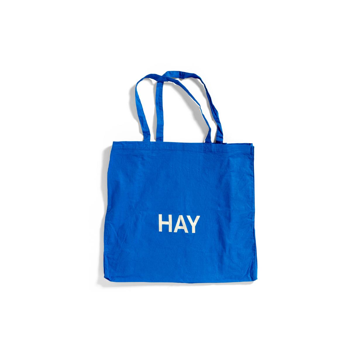 Bawełniana Torba Niebieska Tote Bag L białe logo HAY