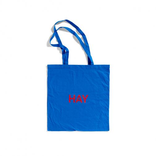 Niebieska Torba Tote Bag czerwone logo HAY