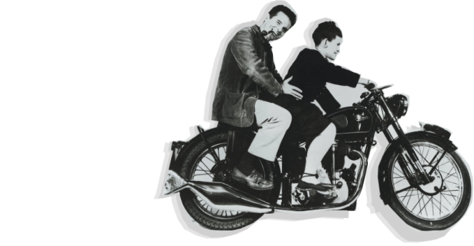 Eames on motorcycle